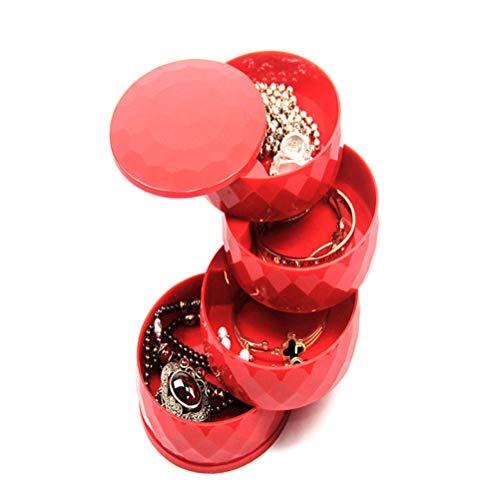 Kikier Kleine Schmuck-Box, Reise-Organizer, drehbar, für Mädchen und Frauen, vierlagig, drehbar, für Halsketten, Ohrringe, Ringe, Armbänder (rot)