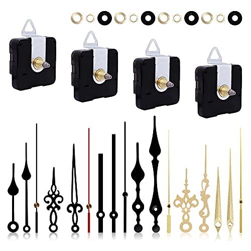 Quazilli Uhrwerk für Wanduhr 4 Stücke Quarzuhr Uhrwerk mit 6 Verschiedenen Paaren Uhrzeiger Set für Clock Ersatzteile Ersatz, Geräuschlos (4)