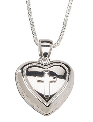 "Children's Sterling Silver First Communion Cross Heart Locket Necklace, 14"""