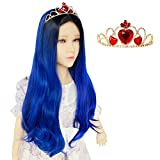 Anogol Wig+ { 1 Red Crown } Long Wavy Dark Bule Wig for-Kids-Comic Middle Part Synthetic Wig for Movie