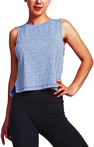 Mippo Cropped Tank Tops for Women Workout Shirts Loose Crop Tops Flowy Fitness Yoga Gym Tops product image