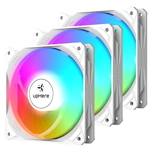 upHere 3PIN 120mm LED Arcobaleno Ventola per PC, Ventola silenziosa ad Alte Prestazioni per Raffreddamento PC, NT12CF3-3