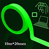 hicloud Glow in The Dark Self-Adhesive Tape,10m x 20mm Green Light Waterproof Luminous