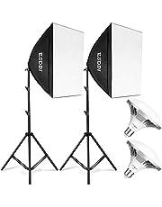 ESDDI Softbox Kit Iluminación Fotográfica 900W 2 x 50 x 50cm con Enchufe E27 y Bombillas de Ahorro de Energía 2x5400K para Retratos, Moda y Fotografía de Productos