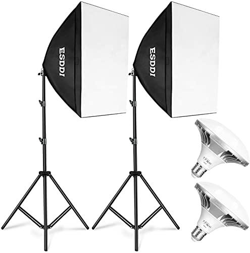 ESDDI Softbox Eclairage Video Kit Photographie 900W avec 2 Ampoules LED 5400K Prise E27 et 2...