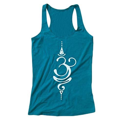 Camiseta Sin Mangas Mujer SHOBDW 2019 Nuevo Slim Fit Sexy Impresión del Símbolo del Tatuaje Zen Mandala Blusa Tank Tops Casual Playa de Verano Camiseta Mujer(Azul,M)