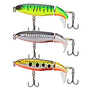 DesignSter 3PCS Topwater Fishing Lure Set/ 3.9inch10cm Floating Rotating Tail Fish Bait Lures Hard Pencil Bait Hook/Fish Tackle Bait for Freshwater Saltwater Carp Bass Pike, etc
