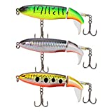 DesignSter 3PCS Topwater Fishing Lure Set\/ 3.9inch 10cm Floating Rotating Tail Fish Bait Lures Hard Pencil Bait Hook\/Fish Tackle Bait for Freshwater Saltwater Carp Bass Pike, etc