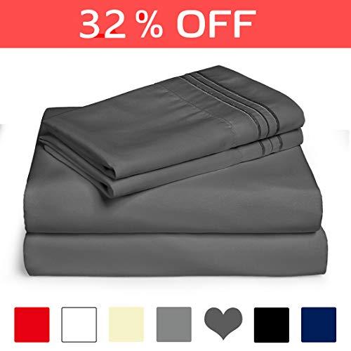 EDILLY Queen Bed Sheet Set 4 Piece Hotel Luxury Sheets - Ultra Soft Microfiber 1800 Series Bedding Deep Pocket Hypoallergenic Wrinkle & Fade Resistant (Queen, Dark Grey)