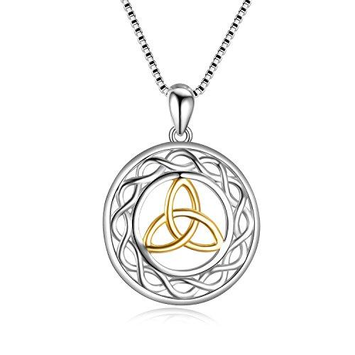 Keltischer Knoten Kette 925 Sterling Silber Keltisch Triquetra Trinity Knoten Anhänger Halskette Religiös Schmuck für Damen Mädchen