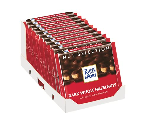 10 x Chocolade Reep Ritter Sport Puur Hele Hazelnoot 100 gram
