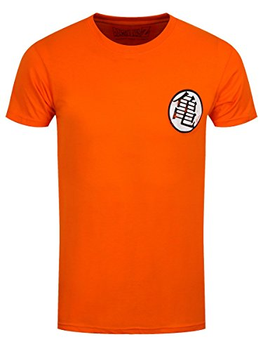 Dragon Ball - T-Shirt uomo simbolo Kaio Kame Distressed cotone arancione - S