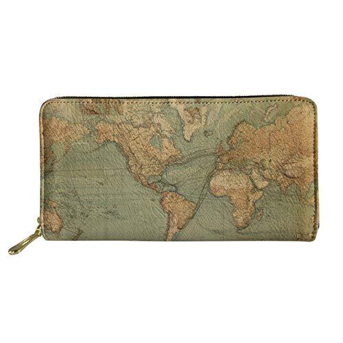 Coloranimal Travel Zubehör PU Leder Lange Brieftasche für Frauen Männer Unisex 3D Weltkarte Muster Kupplung Geldbörse Tasche Kreditkarteninhaber