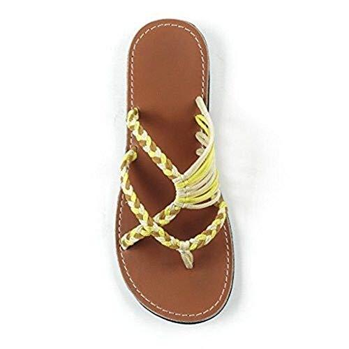 YISHIO Verano Mujeres Femeninas Zapatos enderezan, Sandalias de Dedo del pie corrección Roma Nudo Playa Abierta Planos-Grande, juanetes correctores ortopédicos Moda Flip-Flops Zapatillas Vendaje