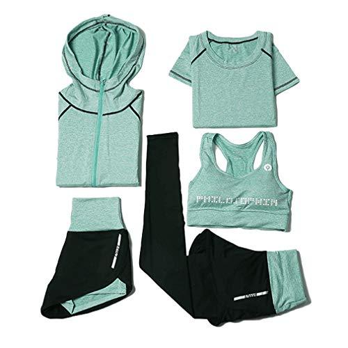 Maisheng 5-teiliges Quick Dry Trainingsanzug-Set für Damen - Yoga, Fitness, Bewegung, Fitness, Laufen, Training, Trainingsoutfit Sportswear-Set