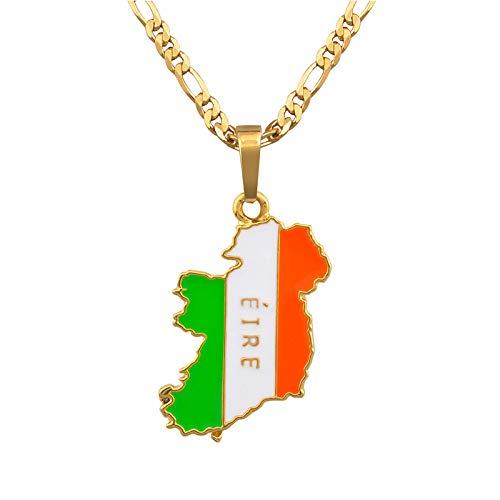 Collar De Mapa,Ein Weltkarte Halskette,Map Necklace,Charm Ireland Map Golden Metal Pendant Necklace Bohemian Gold Bling Unique Ethnic Charm 60Cm Chain Jewelry For Women Man Travel Commemorate Gift