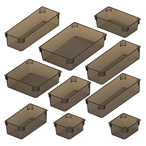 10 Pcs Cajas Organizador con 5 Tamaños Diferentes,Eletorot Organizador Cajones para Cajones, Bandejas de Maquillaje Papelería Cubiertos para Baño Cocina Oficina Escritorio (Gris Transparente)
