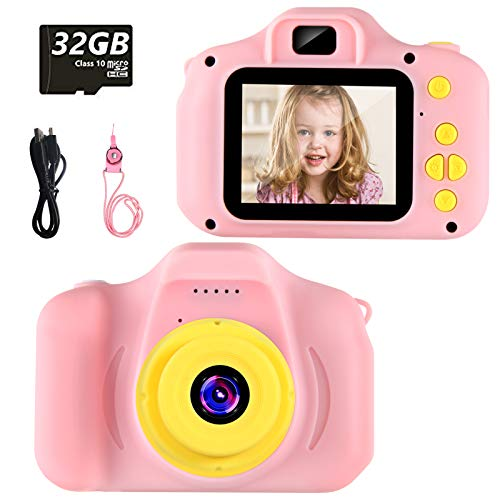 vatenick Cámara para Niños Juguete para Niños Cámara Digital para Niños pequeños 2 Inch HD Pantalla 1080P with Calidad 32GB TF Tarjeta Regalos Juguete para 3 a 12 años Niños y niñas (Rosa)