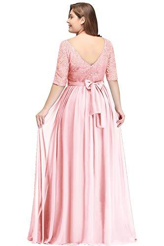 Misshow Abendmode Für Große Größen Damen Kleid Rosa Lang Brautjungfernkleider Langarm