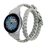 Glebo Correa de piel tejida de 20 mm, compatible con Samsung Galaxy Watch 42 mm/Watch 3 41 mm/Active...