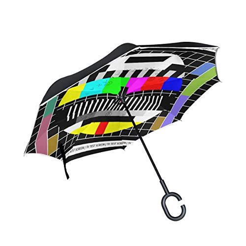 Ahomy Inverted Regenschirm Test TV-Bildschirm groß doppelter winddichter Regenschutz Auto Rückwärtsschirm mit C-förmigem Griff