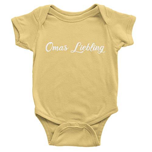 "CVLR Body de manga corta para bebé con texto ""Omas Liebling"", idea de regalo Amarillo claro y blanco. 3-6 Meses"