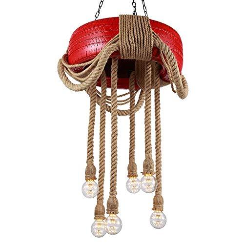 UWY Candelabro Retro Candelabro de 6 Cabezas Candelabro de cáñamo para neumáticos de automóvil Cuerda de cáñamo Antiguo Candelabro de Hierro Candelabro de candelabro de Pintura para neumáticos I