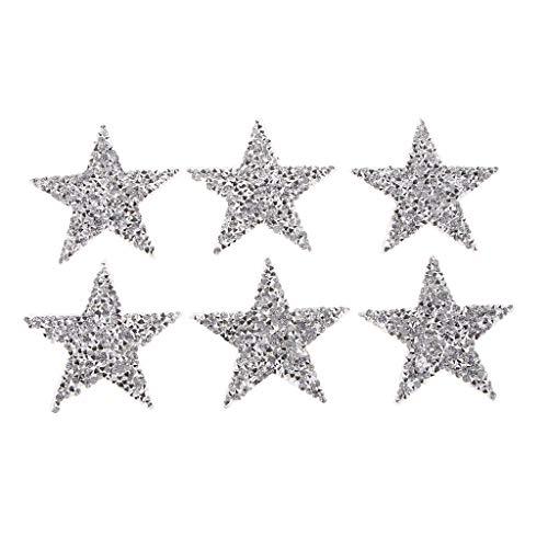 6stk Sternapplikation zum Aufbügeln, Strass Glitzer Sterne Aufnäher Patches Bügelbilder Aufbügler Applikation zum aufbügeln - 5 cm
