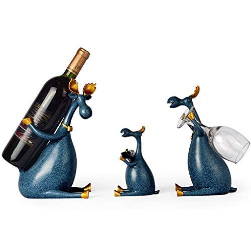 Wein Wohnkultur Weinregal Weinflaschenhalter Küche Wohnzimmer 3pcs Set Elk Weinregale Stehen Weinflaschenhalter (Color : Blue)