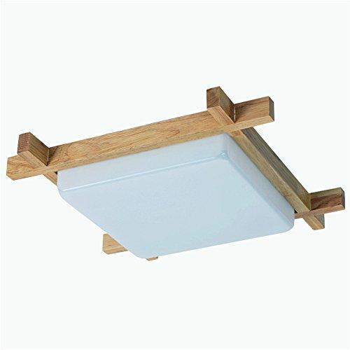 BRIGHTLLT La chambre moderne a conduit l'éclairage de plafond en bois créatif carré en bois massif restaurant personnalisé acrylique bois salon éclairage, 380mm