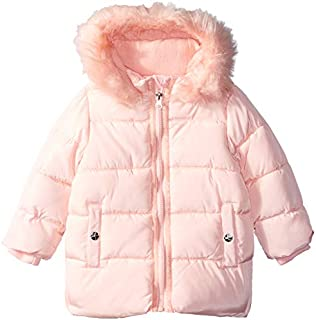Jessica Simpson Baby Girls Bubble Jacket With Faux Fur Hood