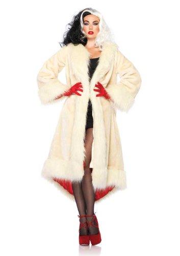 Leg Avenue Disney Satin Faux Fur Coat with Tail Shawl Collar, White, Small/Medium