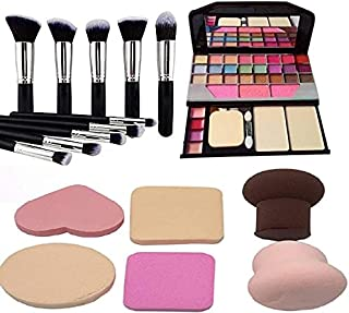 BTN Professional Makeup Kit with TYA 6155 with face makeup brush 10 pcs set different type/size and 06 pcs sponge/beauty b...