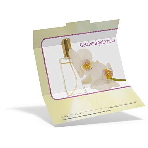 Pythagoras Geschenkgutschein Trend EAU de Parfum KS816 (50 Stück), Gutschein für Kosmetikstudios und Wellness Oasen mit großem Feld für Ihren Firmenstempel