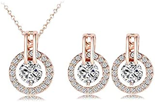 Round Earring Studs 18K Rose Gold Plated Crystal Earrings Necklace Set