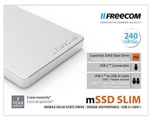 Freecom Mobile Drive externe SSD 2.5' - 240 GB, tragbarer Datenspeicher mit USB 3.1, Übertragungsgeschwindigkeit bis zu 430 MB/s, silber