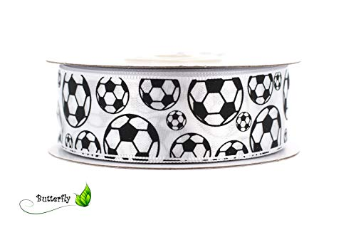Satinband 25mm x 20m Fussball