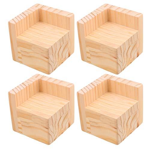 Mxfans - Elevadores de madera para muebles de hogar, 6 x 6 cm, pies de 5 cm, altura de elevación, juego de 4