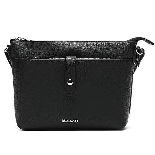 MISAKO Bolso Bandolera Swing | Bolso Bandolera, Clásico, con Compartimentos, Color Negro, 8x22x18 cm