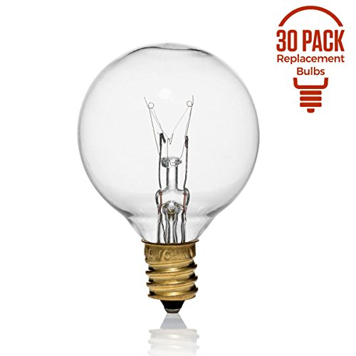 30 Pack of G40 Replacement Bulbs, 5 Watt G40 Globe Bulbs for String Lights, Candelabra Screw Base, Fits E12 and C7 Sockets, Indoor-Outdoor Use, Clear Glass G40 Bulbs, Secure and Convenient Packaging