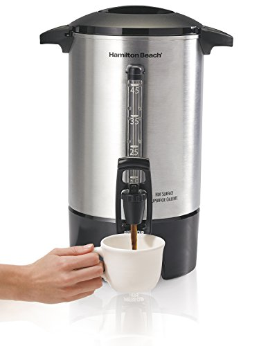 Hamilton Beach 45 Cup Coffee Urn and Hot Beverage Dispenser, Silver (40519)