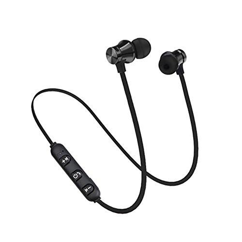 uniqueaur, set di auricolari stereo per Bluetooth, con microfono e calamite, senza cavi nero Nero