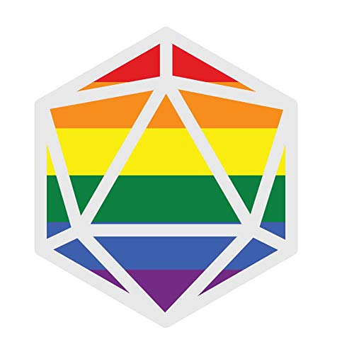 Dark Spark Decals Rainbow Flag LGBT Pride D20 - Great for Tabletop Gamers - 4 Inch Full Color Vinyl Decal for Indoor or Outdoor use, Cars, Laptops, Décor, Windows, and More
