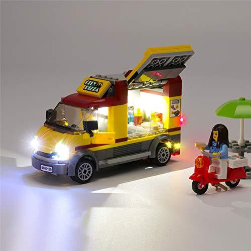 HLEZ USB Juego de Luces de para City Pizza Van Modelo de Bloques de Construcción, Kit de luz LED Compatible con Lego 60150 (Modelo Lego no Incluido)