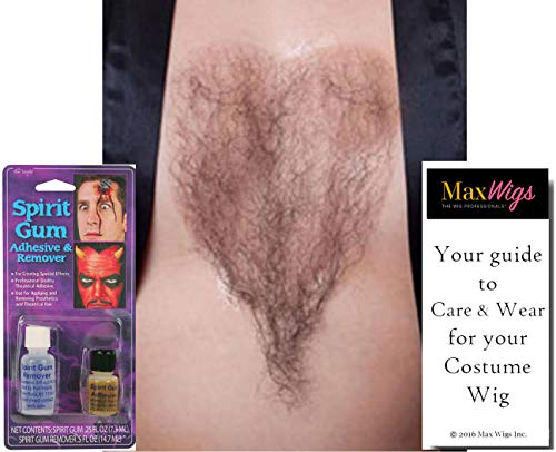 Chest Hair Color Brown - Sepia Costume Wigs Fake Bushy Human Hair Fiber Macho Man She-Man Cosply Merkin Dress Fancy #947 Bundle Spirit Gum Combo, Maxwigs Wig Care Booklet