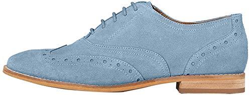 Marca Amazon - find. Leather Zapatos de Cordones Brogue, Azul (Faded Blue), 38 EU