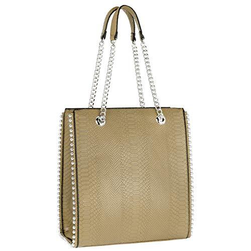 CRAZYCHC - Bolso de Mano Cadena Mujer - Shopper Tote Remaches Perlas - Bolsos de Hombro Cuero Piel PU Mediano - Bolso Compras Rectangular Shopping Bag - Elegante Moda Tendencia Designer - Negro