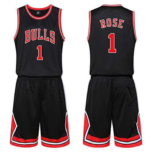 ZGJY Chicago Bulls No. 1 Derrick Rose Jersey Shorts - Set Senza Maniche Classico, Fans Training da Allenamento Maglia da Basket per Uomo Unisex Basket Suit T-Shirt Lettere Cucite-Black-M