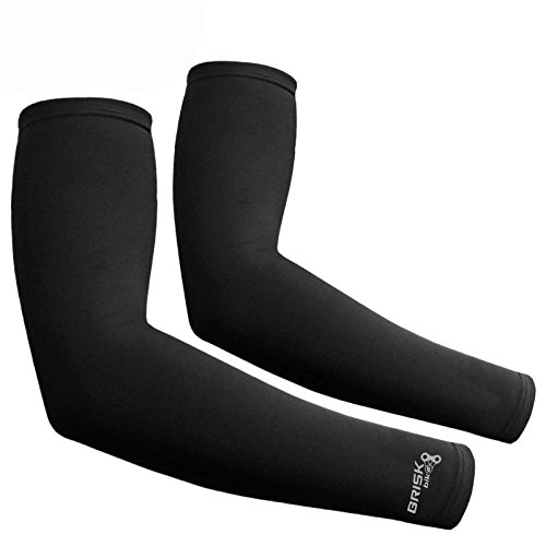 Brisk cycling arm warmer sleeve soft shell thermal Black compression (Small/Medium)