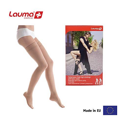 23-32mmHg Lauma Medical® Kompressionsstrümpfe mit Silikonrand für Damen & Herren, Klasse2 Geschlossene Zehen-Oberschenkel-Hochsocke. Krampfadern, oft Schwellungen in den Beinen